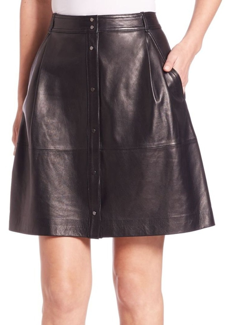 Vince Leather Snap-Front Skirt