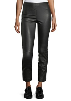 Vince Leather Split-Hem Cropped Pants