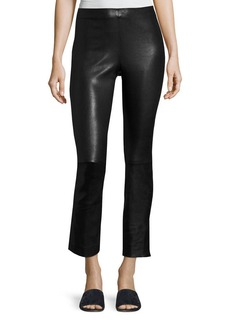 Vince Leather Split Hem Cropped Pants