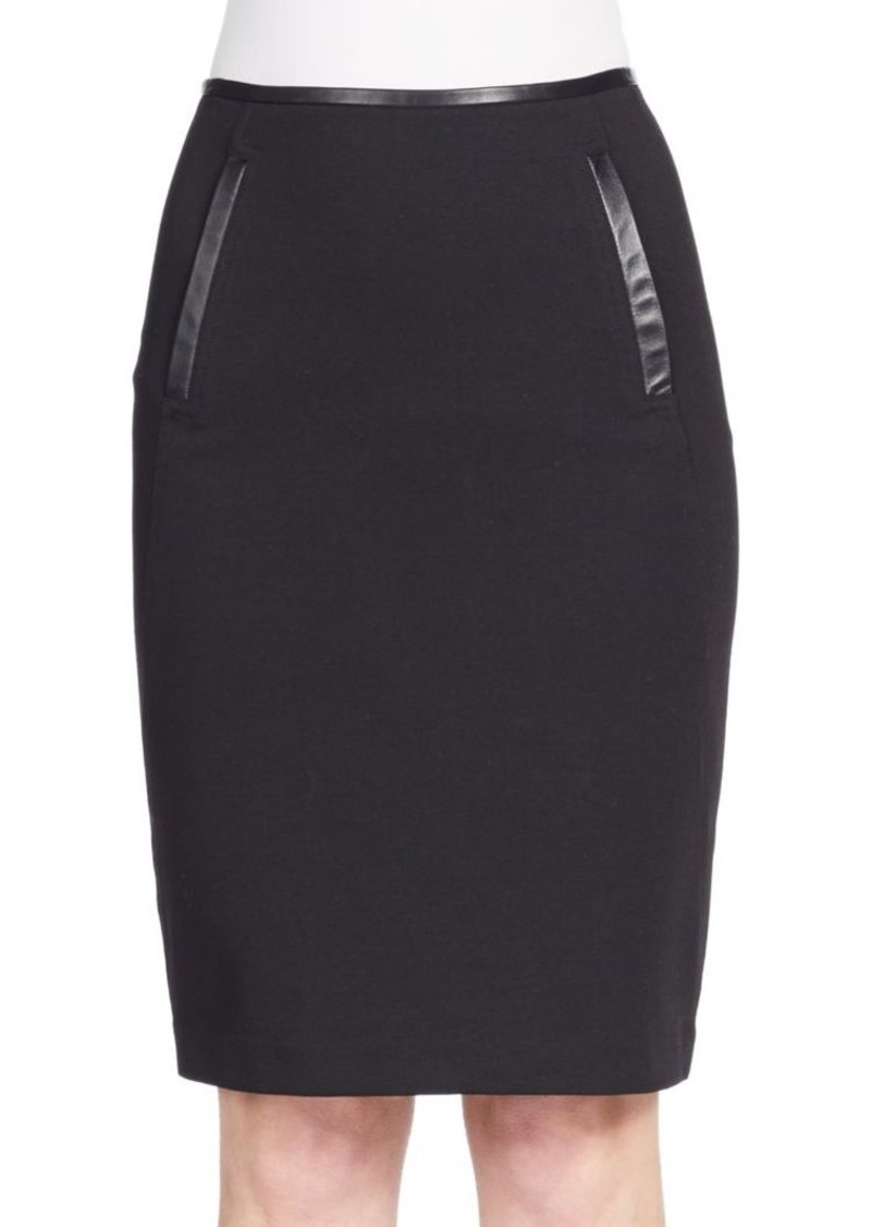 Vince Leather Trimmed Pencil Skirt