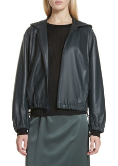 Vince Leather Zip Front Hooded Jacket