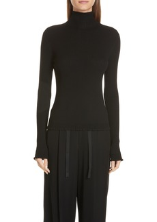 Vince Lettuce Edge Mock Neck Merino Wool Sweater
