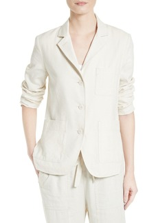 Vince Linen & Silk Three Button Blazer