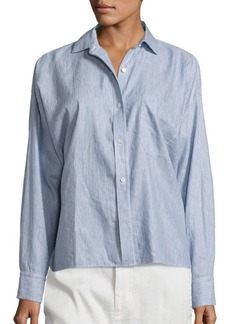 Vince Linen and Cotton Striped Split Back Shirt
