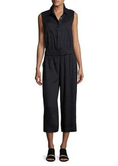 Vince Linen-Blend Sleeveless Cropped Jumpsuit
