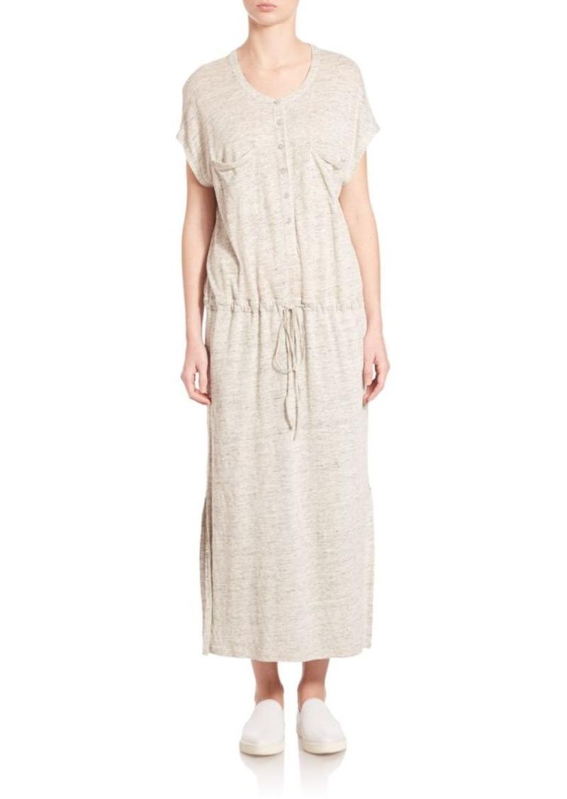 Vince Linen Henley Drawstring Dress