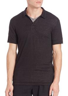 Vince Linen Jersey Short-Sleeve Polo