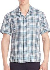 Vince Linen Plaid Shirt