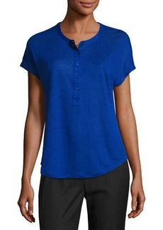 Vince Linen Short-Sleeve Henley Shirt