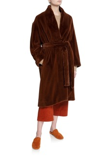 Vince Long Faux Fur Belted Coat