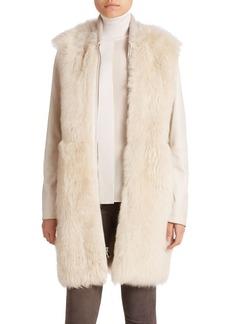 Vince Long Leather & Fur Coat