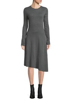 Vince Long-Sleeve Asymmetric Midi Dress