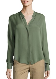 Vince Long Sleeve Double Front Silk Blouse