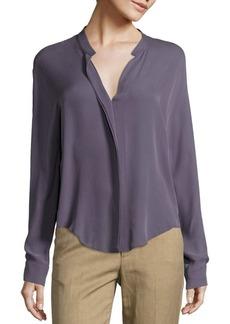 Vince Long Sleeve Double Front Silk Blouse