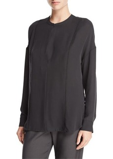 Vince Long-Sleeve Embroidered Stretch-Silk Blouse