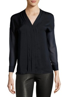 Vince Long-Sleeve Embroidered-Trim Top