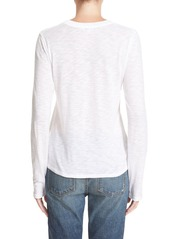 Vince Long Sleeve Fitted Slub Cotton Tee