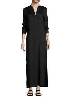 Vince Long-Sleeve Linen-Blend Dress
