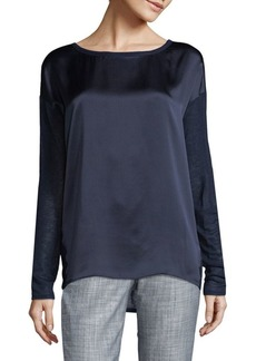 Vince Long Sleeve Silk-Jersey Top