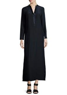 Vince Long-Sleeve Silk-Satin Maxi Dress