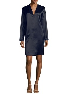 Vince Long-Sleeve Silk Tunic Dress
