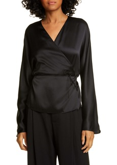 Vince Long Sleeve Silk Wrap Blouse