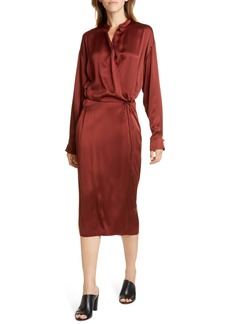 Vince Long Sleeve Silk Wrap Dress