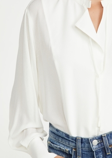 Vince Long Sleeve Tie Neck Blouse