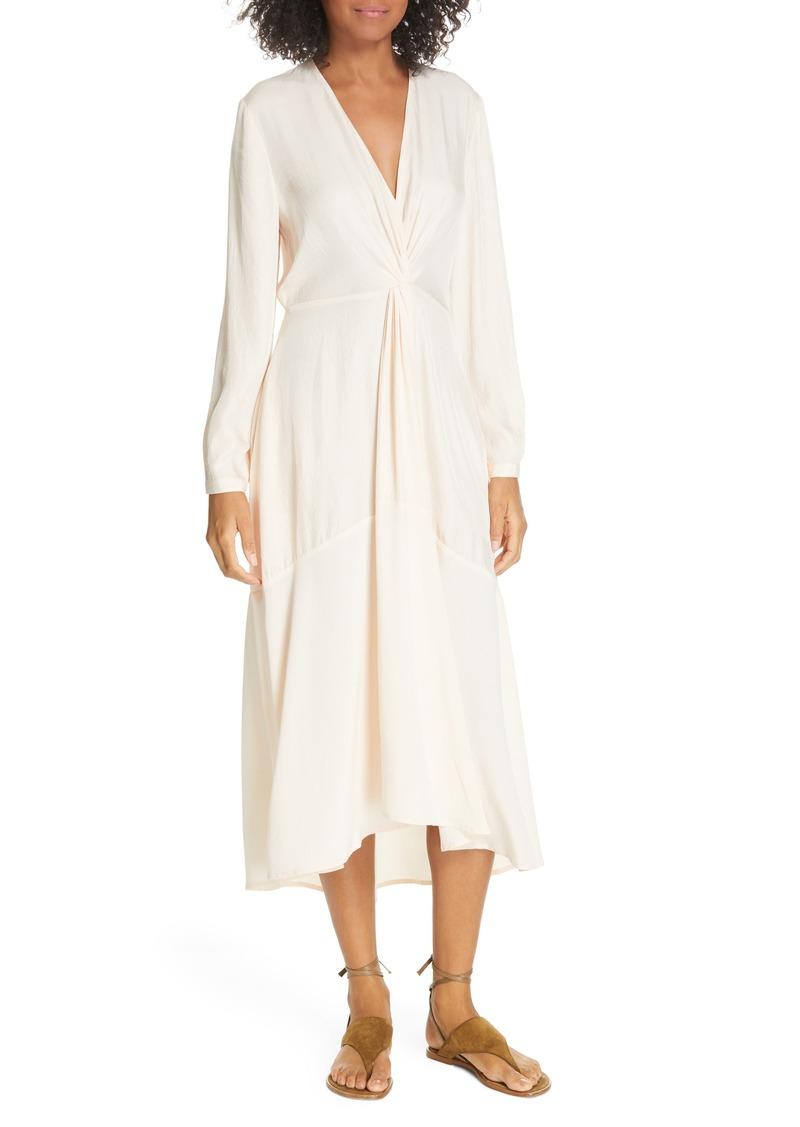 Vince Long Sleeve Twist Drape Dress
