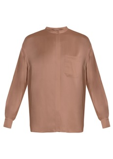 Vince Long-sleeved silk-satin blouse