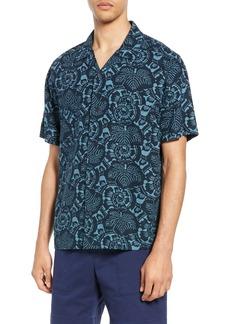 Vince Lotus Leaf Cabana Slim Fit Short Sleeve Sport Shirt