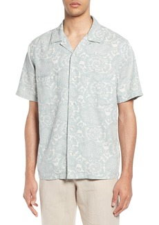 Vince Lotus Leaf Cabana Slim Fit Short Sleeve Shirt