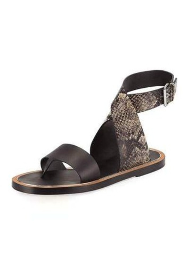 dfdda0d27 On Sale today! Vince Vince Mailin Snake-Embossed Flat Sandal