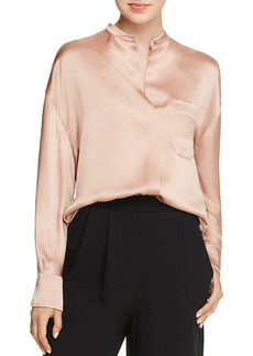 Vince Mandarin Collar Silk Blouse