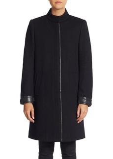 Vince Mandarin Leather-Trimmed Coat