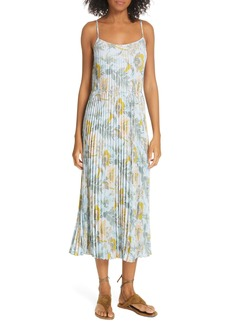 Vince Marine Garden Pleated Slipdress