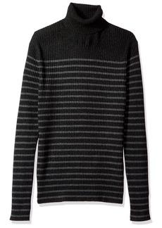 Vince Men's Bretton Stripe Cashmere Turtleneck Sweater Carbon/Heather Stone L