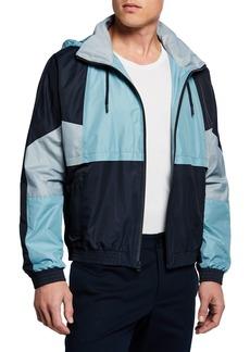 Vince Men's Colorblocked Track Jacket w/ Packaway Hood