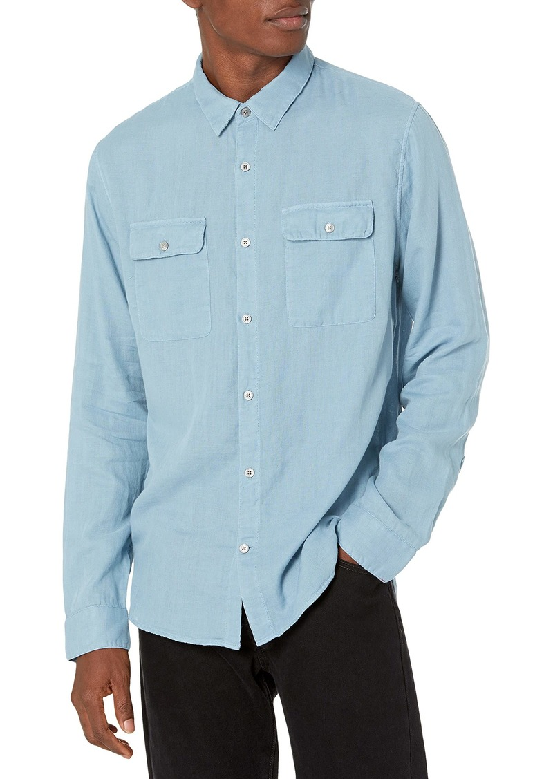 Vince Men's Double FACE Garment DYE Long Sleeve HOCKNEY Blue