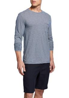 Vince Men's Feeder Stripe Long-Sleeve Crew Shirt