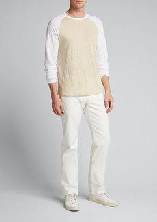 Vince Men's Linen Baseball Crewneck T-Shirt