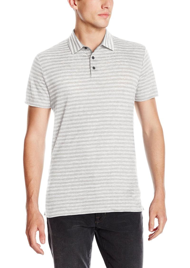Vince Men's Linen Feeder Stripe Short Sleeve Polo Shirt