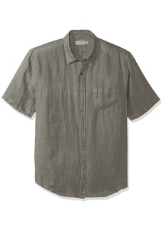 Vince Men's Linen Short Sleeve Button up Desert Green