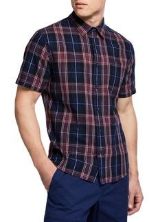 Vince Men's Plaid Linen Short-Sleeve Sport Shirt