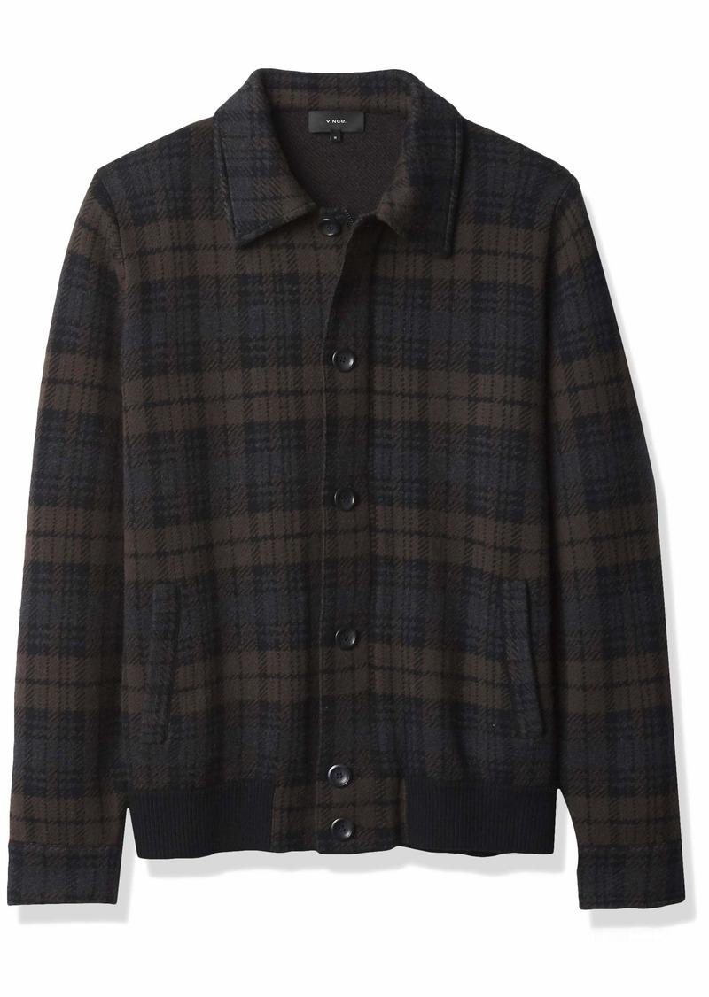 Vince Men's Plaid Sweater Jacket  L