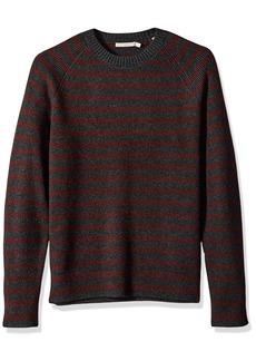 Vince Men's Raglan Sleeve Striped Ribbed Crew Neck Sweater Carbon/Heather Burgundy XXL
