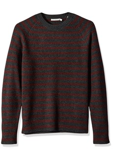 Vince Men's Raglan Sleeve Striped Ribbed Crew Neck Sweater  L