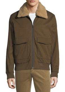 Vince Men's Shearling-Trim Bomber Jacket