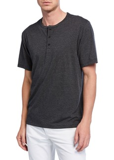 Vince Men's Short-Sleeve Feeder Stripe Henley Shirt