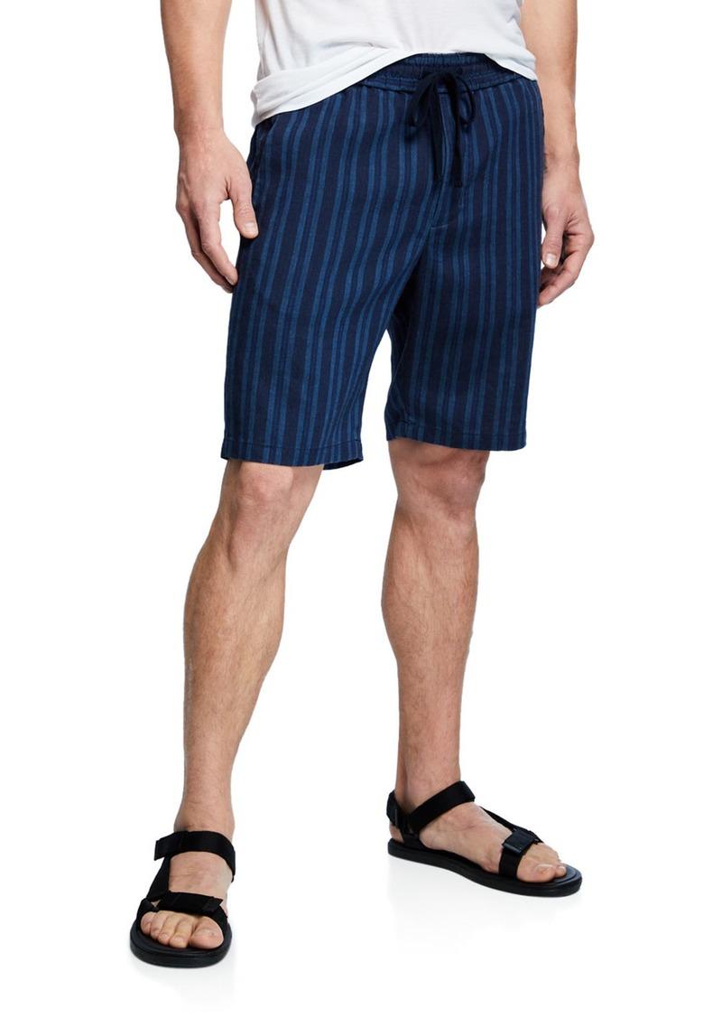 Vince Men's Striped Hemp Pull-On Shorts
